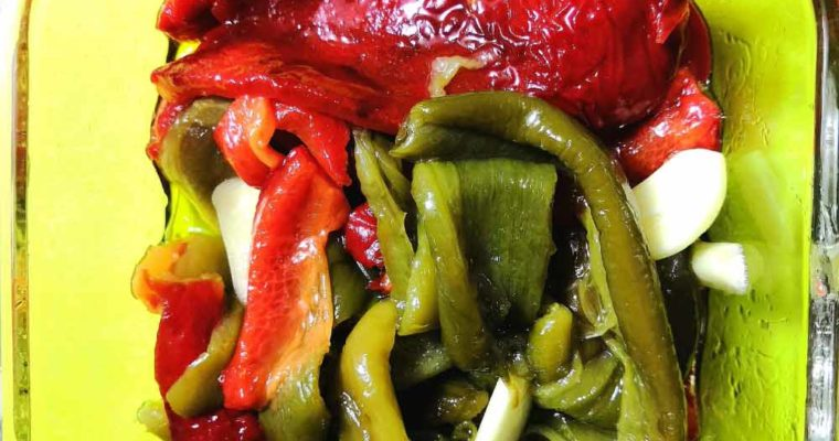 Garlic and Olive Oil Marinated Roasted Bell Peppers