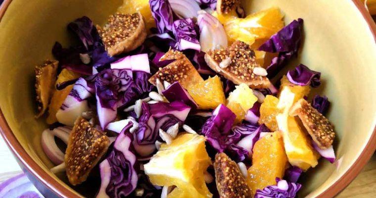 Salade de Chou Rouge, Orange & Figues Séchées
