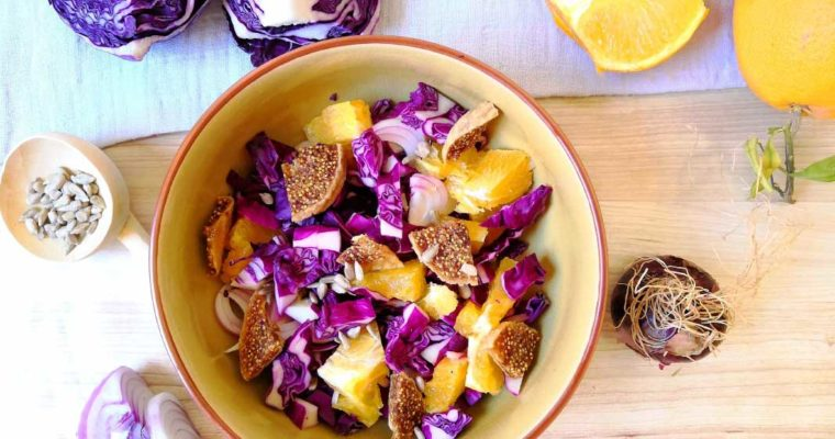 Red Cabbage, Orange and Dried Fig Salad